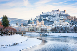 Beautiful view of Salzburg skyline with Festung Hohensalzburg and river Salzach in winter, Salzburger Land, Austria; Shutterstock ID 144232714; PO: Salisburgo mercatino; Job: Viaggi individuali; Client: Boscolo; Other: Buildidea