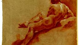 03-Giulia Lama (1681 – 1747) Nudo virile visto di schiena Gesso rosso e gesso bianco, mm , mm 570 x 430 inv. Cl. III, 6993-2